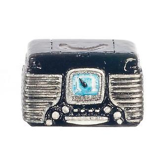 Dolls House Black 1950's Retro Radio Miniature 1:12 Scale Accessory