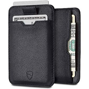 Vaultskin CHELSEA Slim Minimalist Leather Mens Wallet with RFID Blocking, Credit Card Holder (Black)