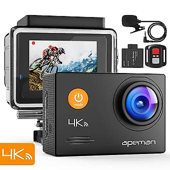 Apeman action camera a79, 4k 20mp wifi webcam underwater waterproof 40m with external microphone and