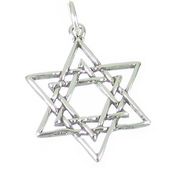 Star Of David Sterling Silver Charm Pendant .925 X 1 Jewish Charms - 2644