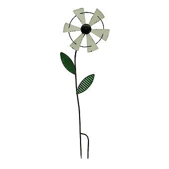 White Metal Art Windmill Flower Spinner Garden Stake