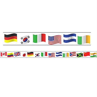 "Borders/Trims, Magnetic, Rectangle Cut - 1-1/2"" X 24"", World Flags Theme, 24' Per Pack, 2 Packs"