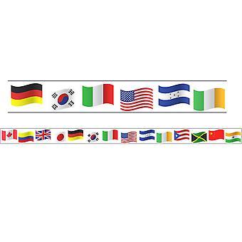 """Bordes/Recortes, Magnético, Corte rectángulo - 1-1/2"""" X 24"""", Tema banderas del mundo, 24' Por paquete, 2 paquetes"""