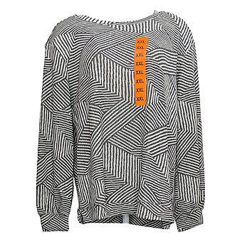 Ellen Tracy Women's Sweatshirt XXL Jacquard Crewneck Long Sleev Print Gray
