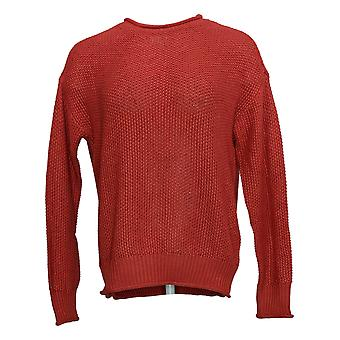 Jessica Simpson Women's Sweater Roll Rounded Neck Long Sleeve Cozy Fit Red