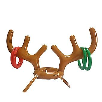 Inflatable Santa, Reindeer Antler Hat Ring Toss, Christmas Holiday Party Game