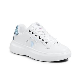 Schoenen Us Polo Sneaker Jewel Dames 029 In Ecopelle Wit/ Glitter Ds21up05