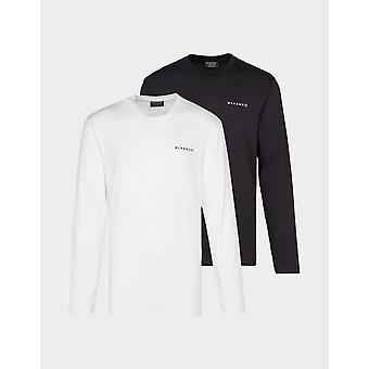 New McKenzie Men's 2-Pack Essential Long Sleeve T-Shirts from JD Outlet White