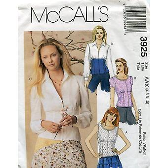 McCalls Schnittmuster 3925 Misses Semi fitted Shirt Größe 4-10 AAX