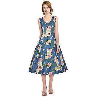 elegant stjerne pluss størrelse retro kjole i blå / floral