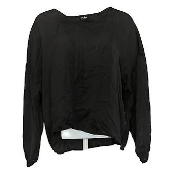 Du Jour Women's Top Reg V-Neck Drop Shoulder Blouse Black A374142