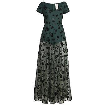 Chic Star Flocked Velvet Mesh Maxi Dress In Green