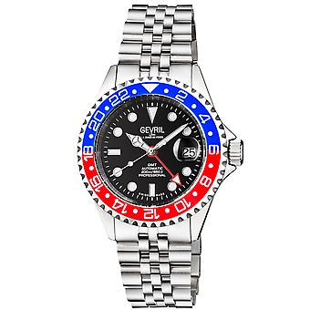 Gevril Men&s Wall Street GMT BLK Dial BLU/RED Ceramic Bezel Rostfritt Stål Armband