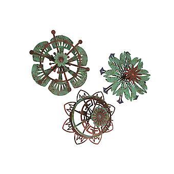 Set of 3 Metal Flower Wall Art Copper Verdigris Hanging Decor Floral Sculpture
