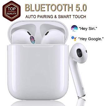 I12 Bluetooth 5.0 hodetelefoner, 48 timers støyreduserende stereo trådløse hodetelefoner med innebygd mikrofon, berøringskontroll, automatisk sammenkobling, for alle Apple-smarttelefoner / Airpods / iPhone - hvit