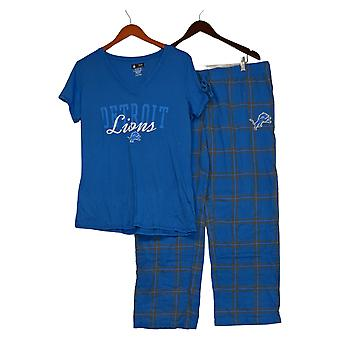NFL Women's Pajama Set Lions Flannel Pants & T-Shirt Blue A370730