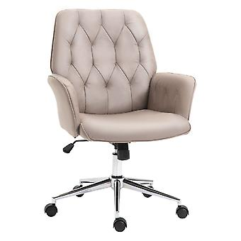 Vinsetto Micro Fiber Office Swivel Chair Mid Back Computer Desk Chair with Adjustable Seat, Arm - Light Grey