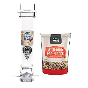 1 x Simply Direct Large Deluxe Wild Bird Seed Feeder with 0.9KG bag of Robin Feed