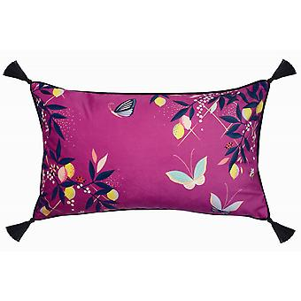 Pink Butterflies Feather Cushion By Sara Miller