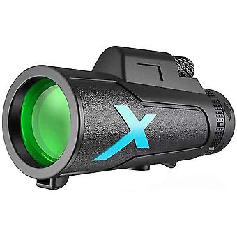 Télescope monoculaire, 12X50 HD Starscope Télescope Zoom HD monoculaire avec trépied Téléphone cellulaire Jumelles Objectif FMC BAK4 Imperméable à l'eau pour l'observation des oiseaux, camping, voyage, chasse, jeux de balle,(noir)