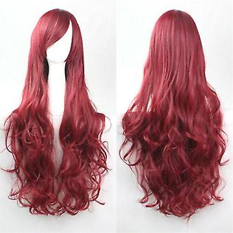 (Red) Woman Long Curly Wigs Cosplay Halloween Costume Anime Hairs Wavy Full Wig Hair