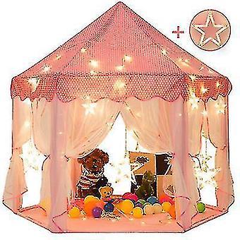 55'' X 53'' Prinsesse telt med store stjernelys Piger Stort legehus Kids Castle Play Telt til