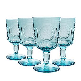 4x Copas de Vino Romántico Floral Decorado Rojo Blanco Stemware Copas 320ml Azul
