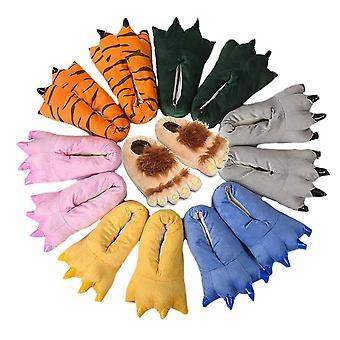Labky Papuče Fuzzy Plnené zvieracie pazúry Topánky Funny Cosplay Kostýmy pre dospievajúcich dospelých 27-44, žltá, S