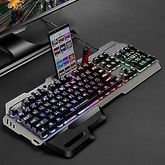 Steampunk Gaming Tastatur Imitation mechanische Tastatur 104 Tasten Atmen Lampe Handauflage verdrahtet