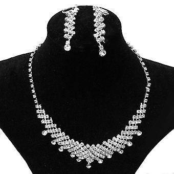 Menyasszonyi szalagavató strassz ékszer kristály esküvői nyaklánc és fülbevaló szett