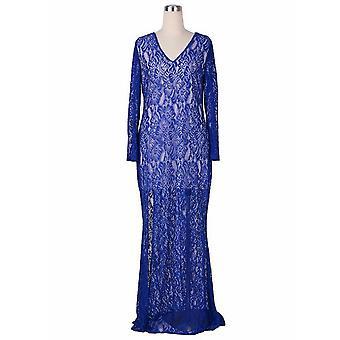 Schwarz Blau Volle Spitze Fischschwanz Maxi Lange Kleid Abend Cocktail Party Kleid