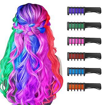 hår kritt kam 6pc vaskbar fargefarge for fest cosplay diy