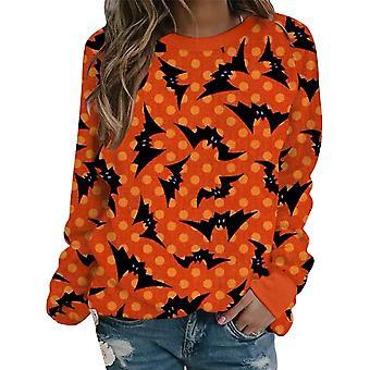 Damskie Halloween Crew Neck Długi rękaw Sweter Pullover Tops Bluza Bluza Bluza
