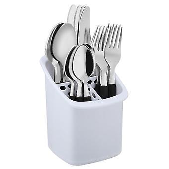16Pc svarte StylishTableware kjøkken rustfritt stål og plast bestikk satt med Caddie