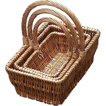 Conjunto de 3 cestas de compras de presente retangular