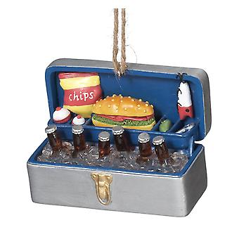 Fishing Tackle Box Cooler Filled with Ice Cold Beer Christmas Holiday Ornament