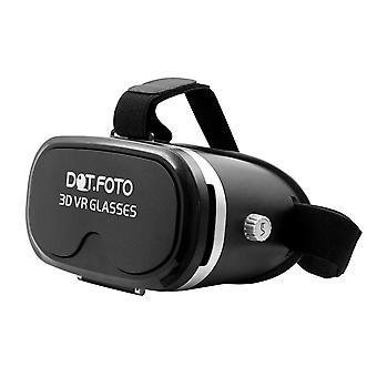 Dot.Foto caja VR 3D Virtual realidad Video Gafas 90 grados FOV auricular cartón de 3.5-5.5 pulgadas Iphone, Samsung, Sony, LG, Google, HTC, Smartphones Moto - (negro)