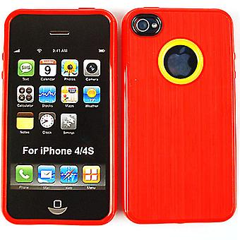 Housse étui case Skin Design cellulaire illimité pour Apple iPhone 4/4 s (rouge, peau d'unité centrale)
