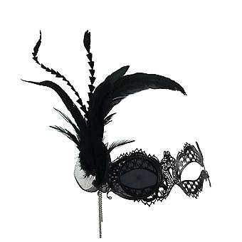 Steampunk Masquerade Metal Lace Monocle Eye Feather Mask w/Chain