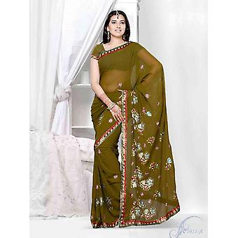 Sari di Georgette Designer partito indossare Sari verde aboli del hennè