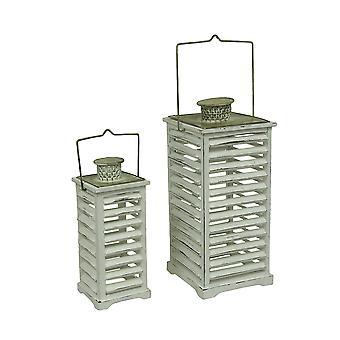 2 Piece White Vintage Finish Square Wood Shutter Candle Lantern Set