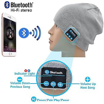 (Light Grey) Unisex One Size Winter Bluetooth Beanie Hat with Built-in Wireless Stereo Speaker Headphone For BLU Studio J8 LTE