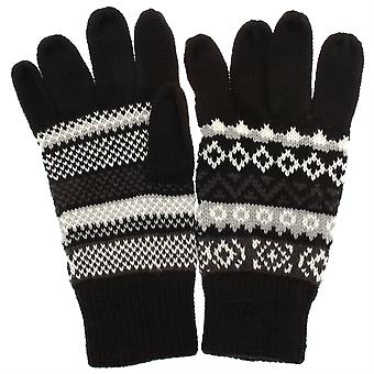 Mens Black with Light Grey/White Fair Isle Pattern Gloves RJM GL134