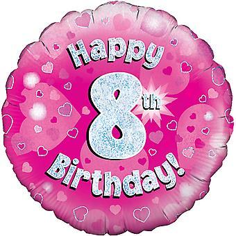 Октри 18-дюймовый счастливым 8 день рождения розовый голографической шар