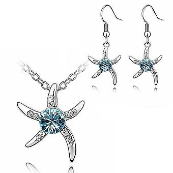 Womens Silver Starfish Necklace and Earrings Blue Stone