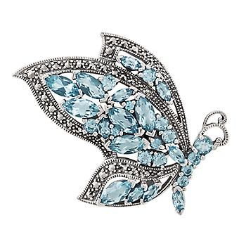 Art Nouveau Style Marquise Blue Topaz & Marcasite Flying Butterfly Brooch in 925 Sterling Silver 27416