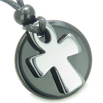Ankh Egyptian Power of Life Medallion Amulet Spiritual Protection Powers Onyx Hematite Necklace