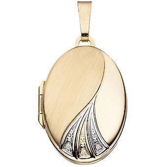 Medaillon oval Anhänger 333 Gold Gelbgold teilrhodiniert teilmattiert Goldmedaillon