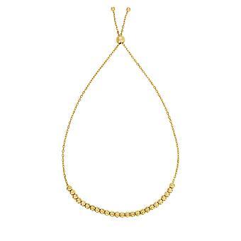 14k Yellow Gold Adjustable Diamond Cut Bead Charm Bolo Bracelet, 9.25