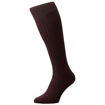 Pantherella Danvers Rib Cotton Lisle Over the Calf Socks - Burgundy